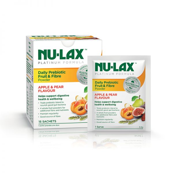 Nu-Lax Platinum Daily Prebiotic Fruit & Fibre Powder – Apple & Pear Flavour